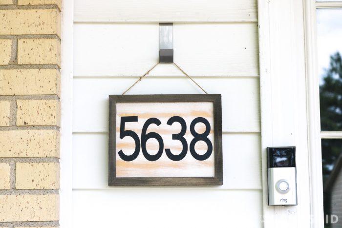 DIY House number sign hanging next to front door - horizontal layout