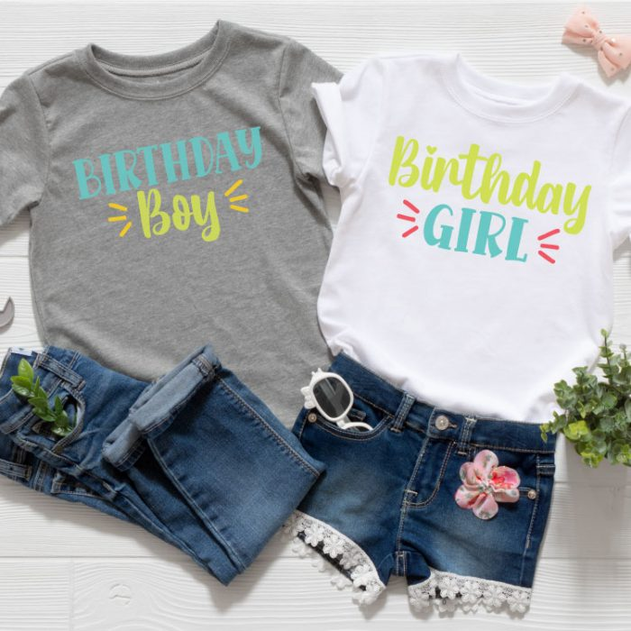 Two outfits, one girl and one boy with the Birthday Girl and Birthday Boy SVG files in iron-on in square format
