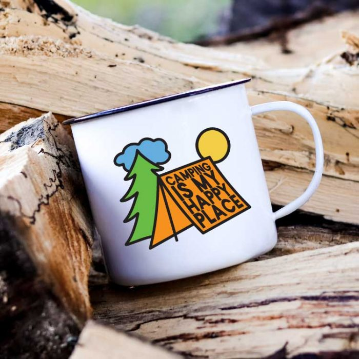 Camp Mug on a stack of wood with Camping is My Happy Place SVG in vinyl - Square