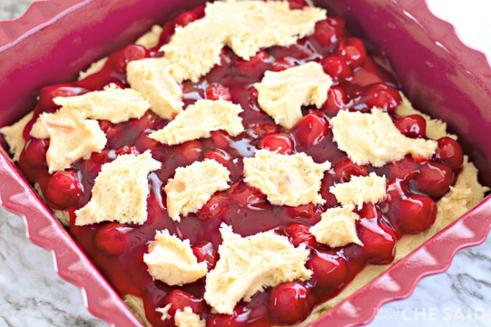 Cherry Bars with dough drops on top ready to bake