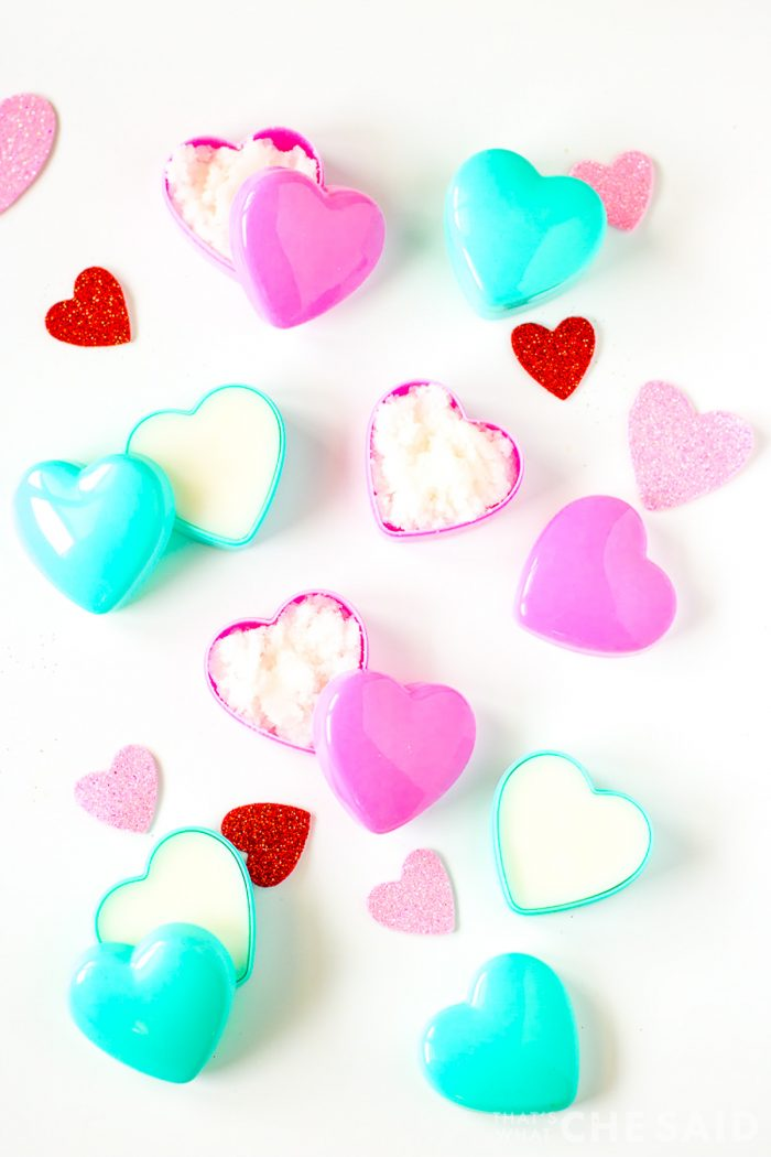 Lotion Bars and Sugar Scrub in Heart containers perfect for Valentine's Day