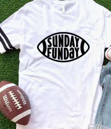 AstroTurf background with white shirt and Sunday Funday Free football SVG with football and jeans - vertical layout