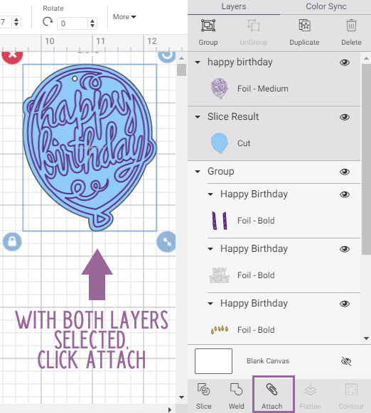 Design Space Canvas with markings to show exactly what it looks like to have layers selected and where to click attach