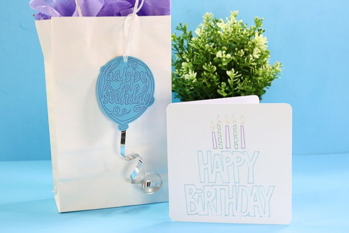Birthday Balloon foiled gift tag and Foiled Birthday Card
