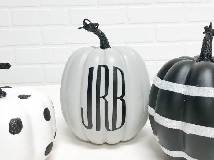3 letter monogram on painted pumpkin