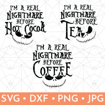 Vector graphic of Nightmare Before Christmas Jack Skellington Coffee Mug SVG files.  One for coffee, tea and hot cocoa.