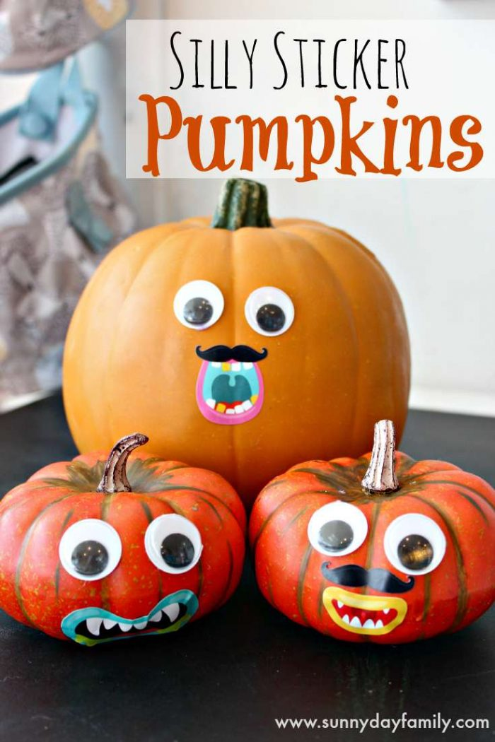 Pumpkins with silly faces using stickers