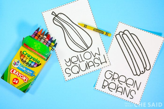 Thanksgiving coloring sheets cut into booklet size on blue background with crayons