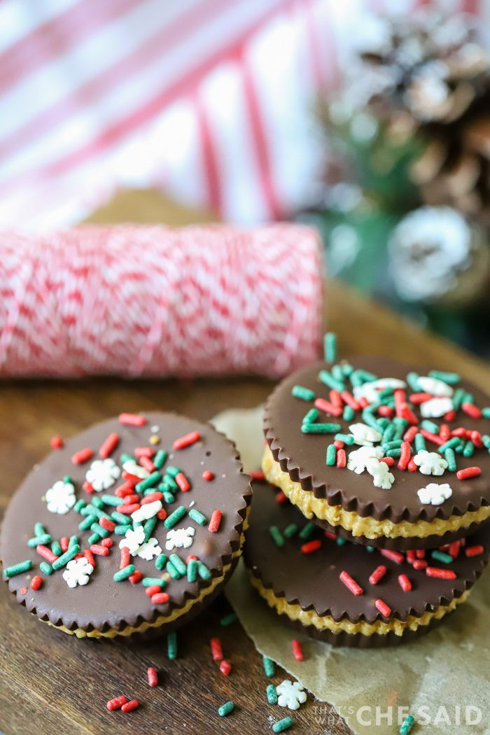 Homemade peanut butter cups with holiday sprinkles on top