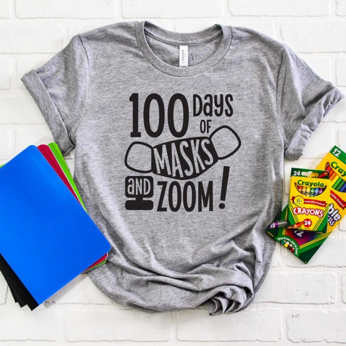 """Grey Shirt with """"100 Days of Masks & Zoom"""" design with school supplies - square format"""
