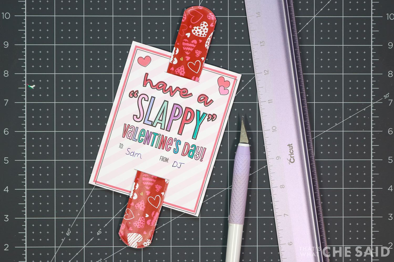 Slap bracelet inserted into cut and trimmed printable valentine