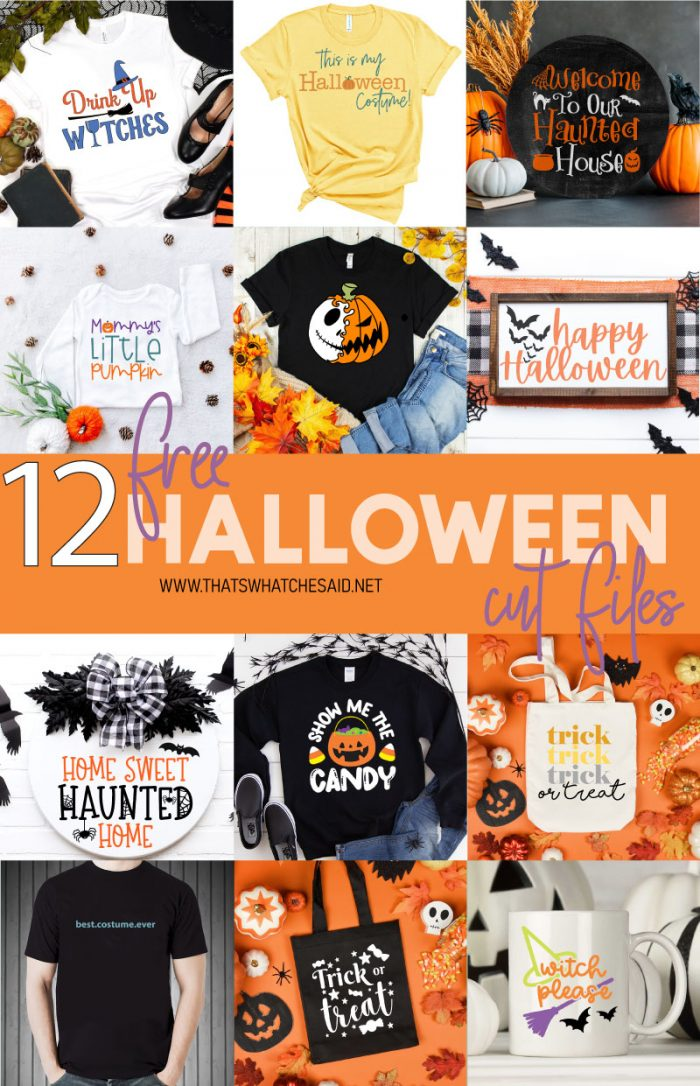 Collage of 12 Free Halloween SVG Projects
