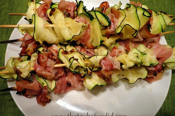 Grilled Zucchini Ribbons and Prosciutto