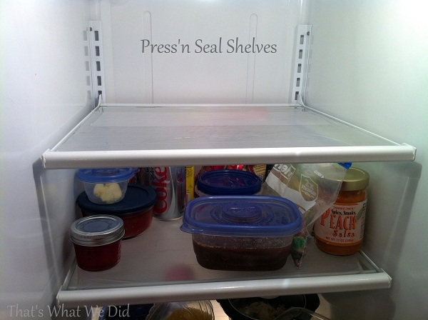 press'n seal on fridge shelves