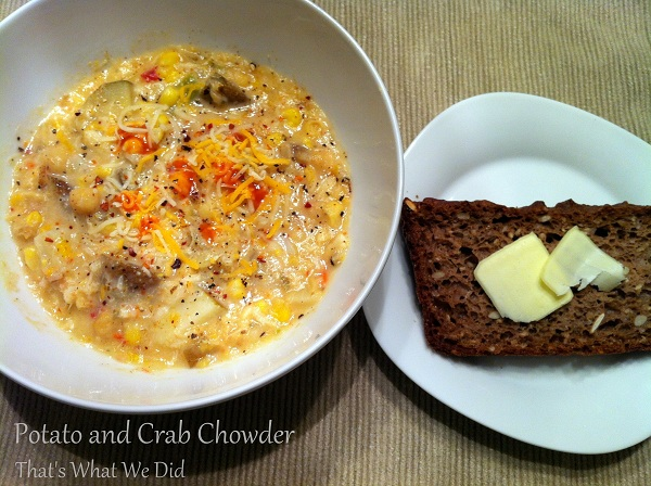 potato and crab chowder with bread