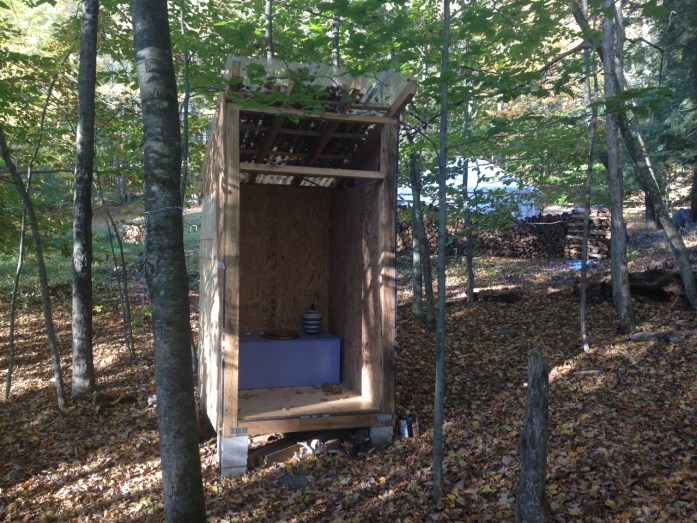 The shingled, humanure outhouse — sans door but with a view! Homestead chores for winter