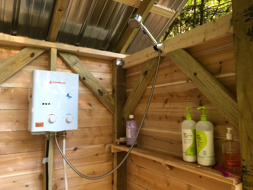 Outdoor shower with propane water heater