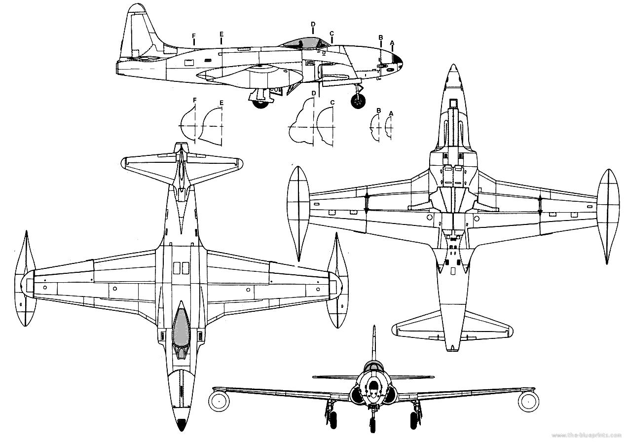Blueprints Gt Modern Airplanes Gt Lockheed Gt Lockheed P 80