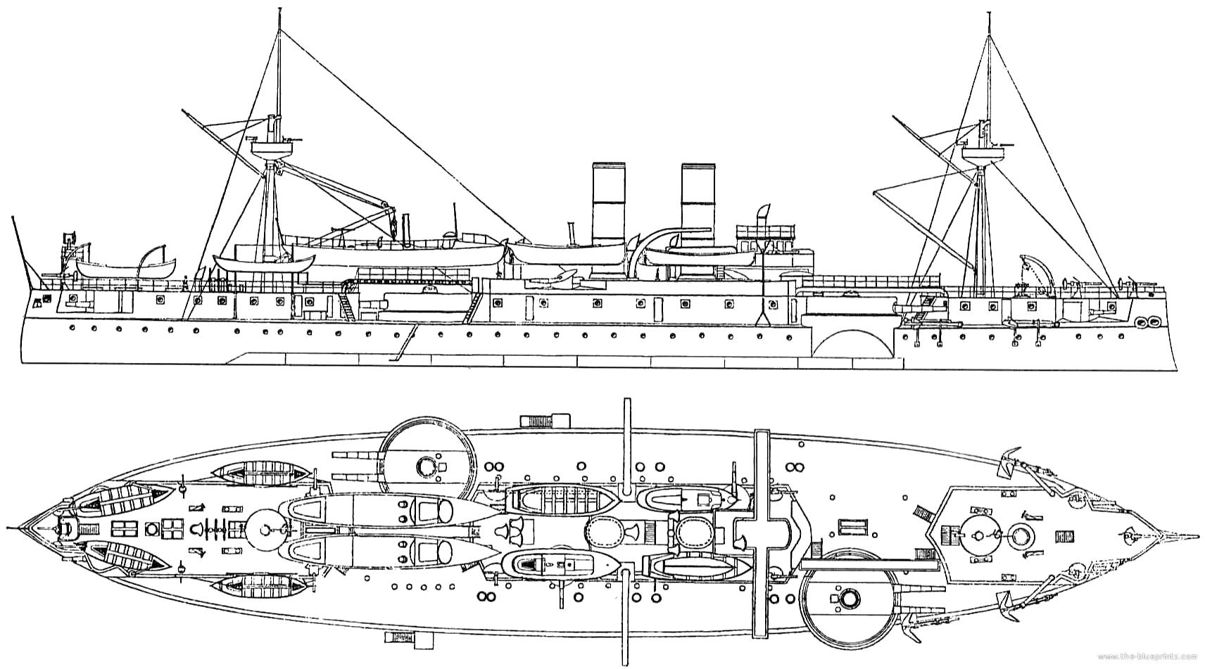 Blueprints Gt Ships Gt Ships Us Gt Uss Acr 1 Maine 2nd