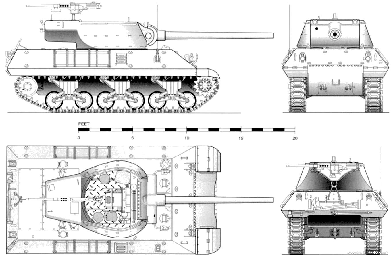 Blueprints Gt Tanks Gt Tanks M Gt M36 Jackson 90mm Tank Destroyer
