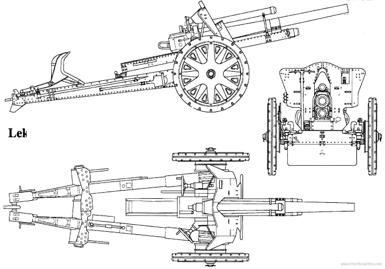 Blueprints Gt Weapons Gt Artillery And Cannons Gt 10 5 Cm Lefh 18