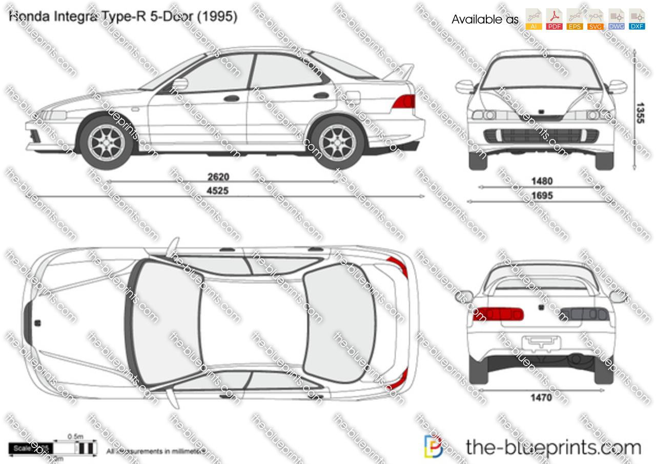 Honda Integra Type R 5 Door Vector Drawing