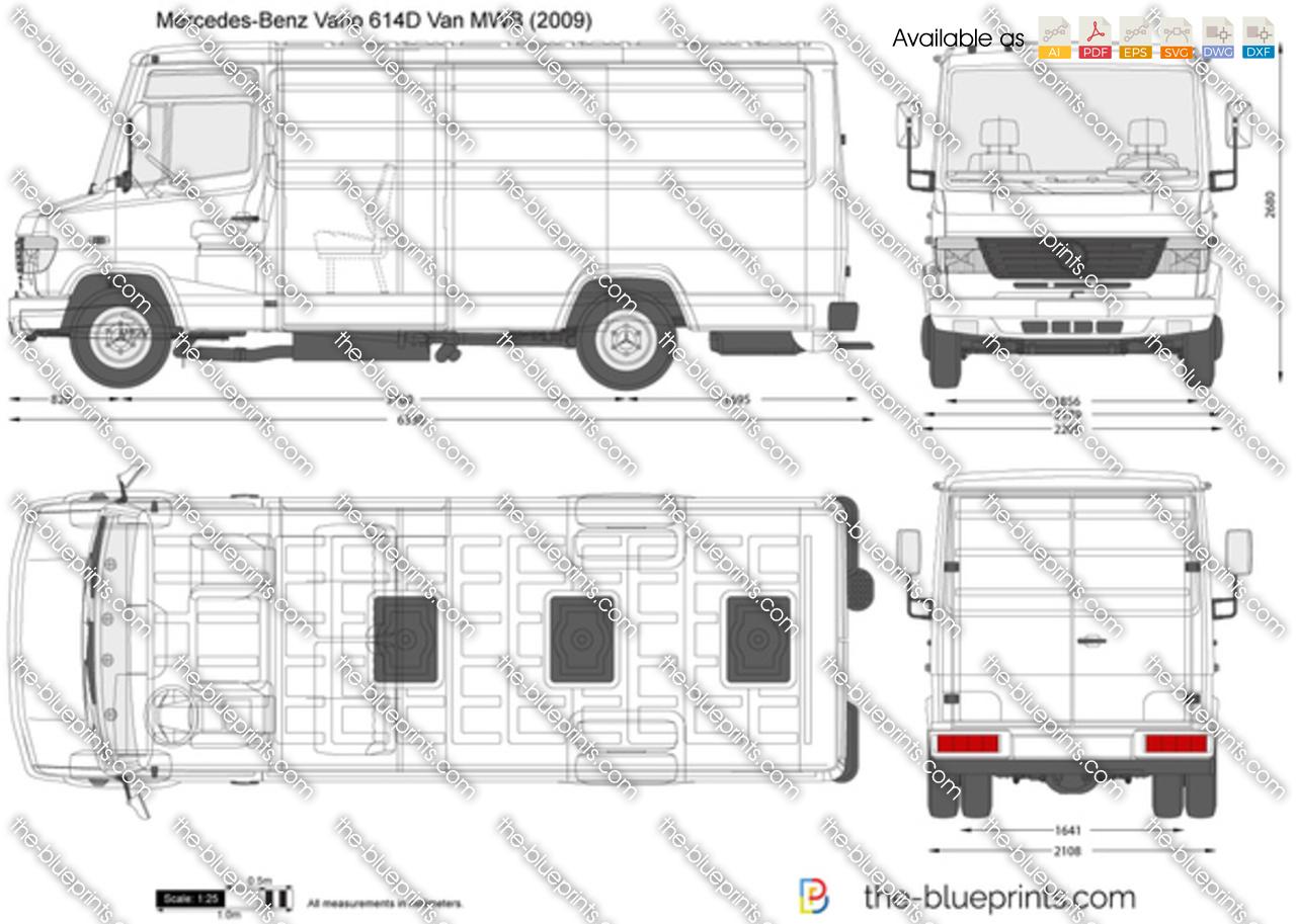 Mercedes Benz Vario 614d Van Mwb Vector Drawing