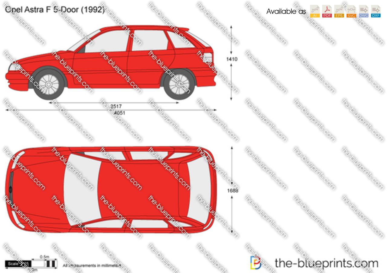 Opel Astra F 5 Door Vector Drawing