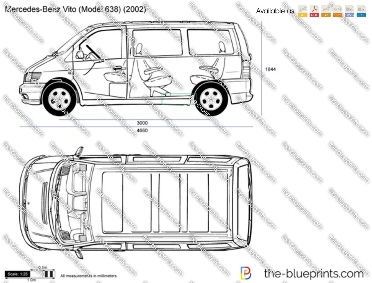 Mercedes Benz Vito W638 Vector Drawing