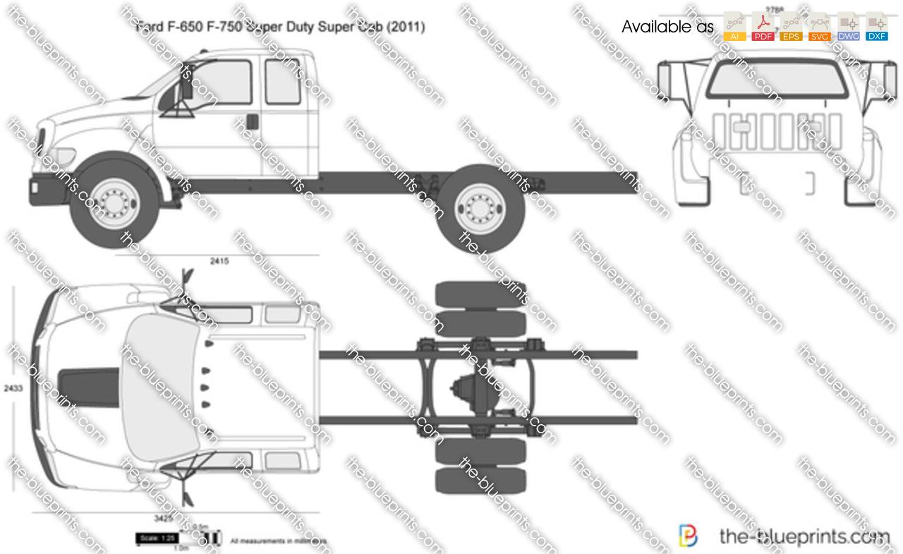 Ford F 650 F 750 Super Duty Super Cab Vector Drawing