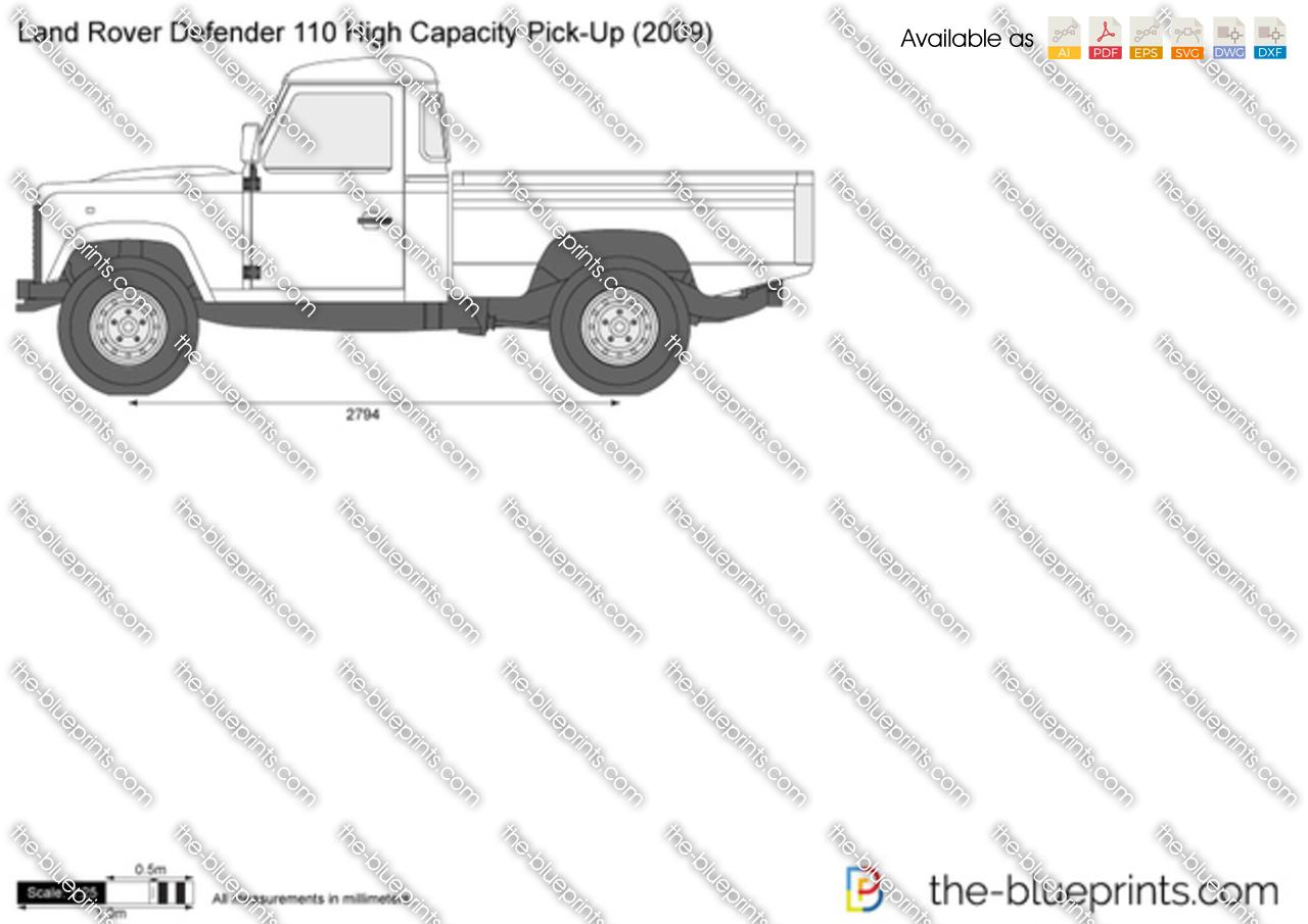 Land Rover Defender 110 High Capacity Pick Up Vector Drawing