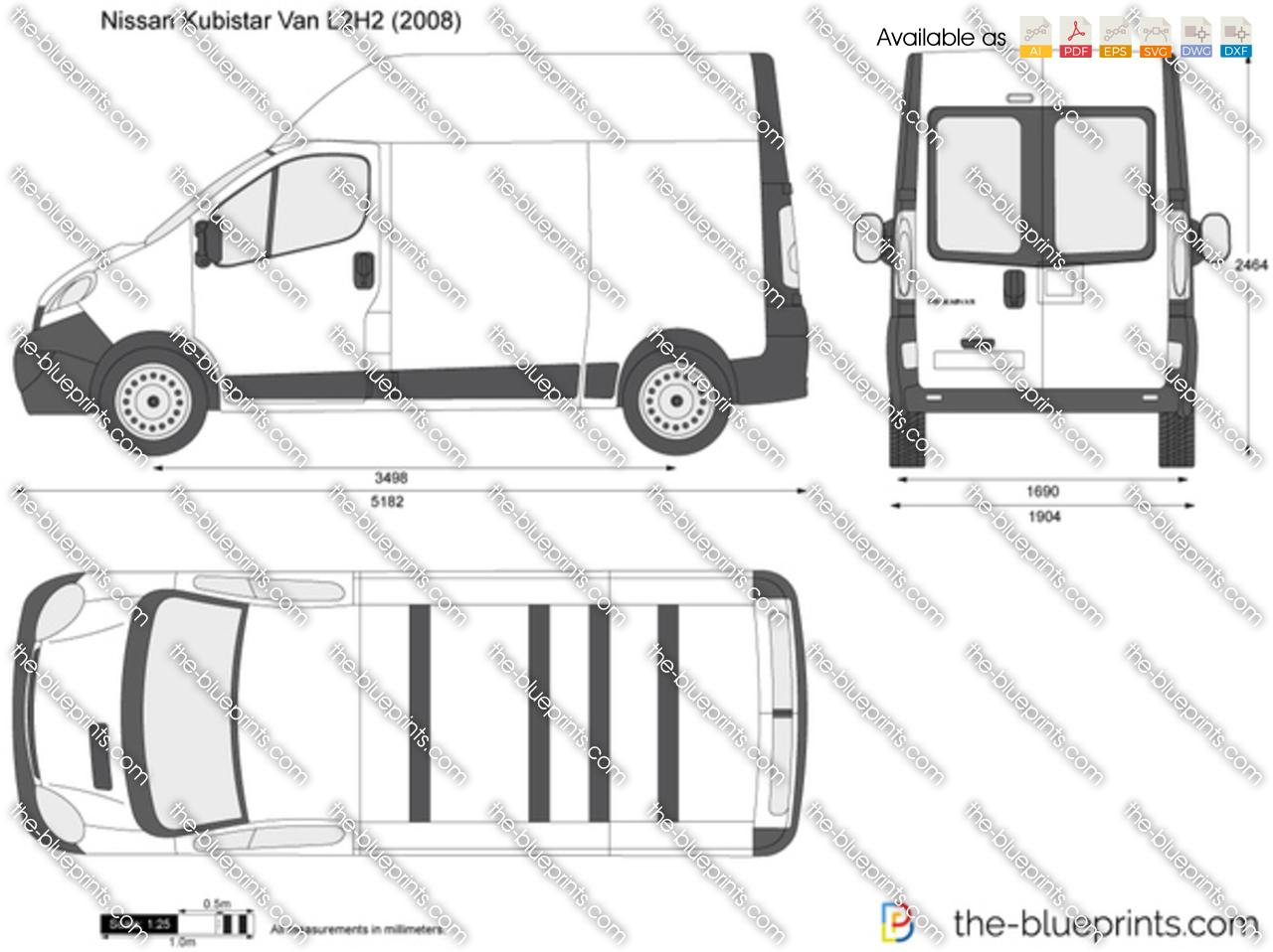 Nissan Primastar Van L2h2 Vector Drawing