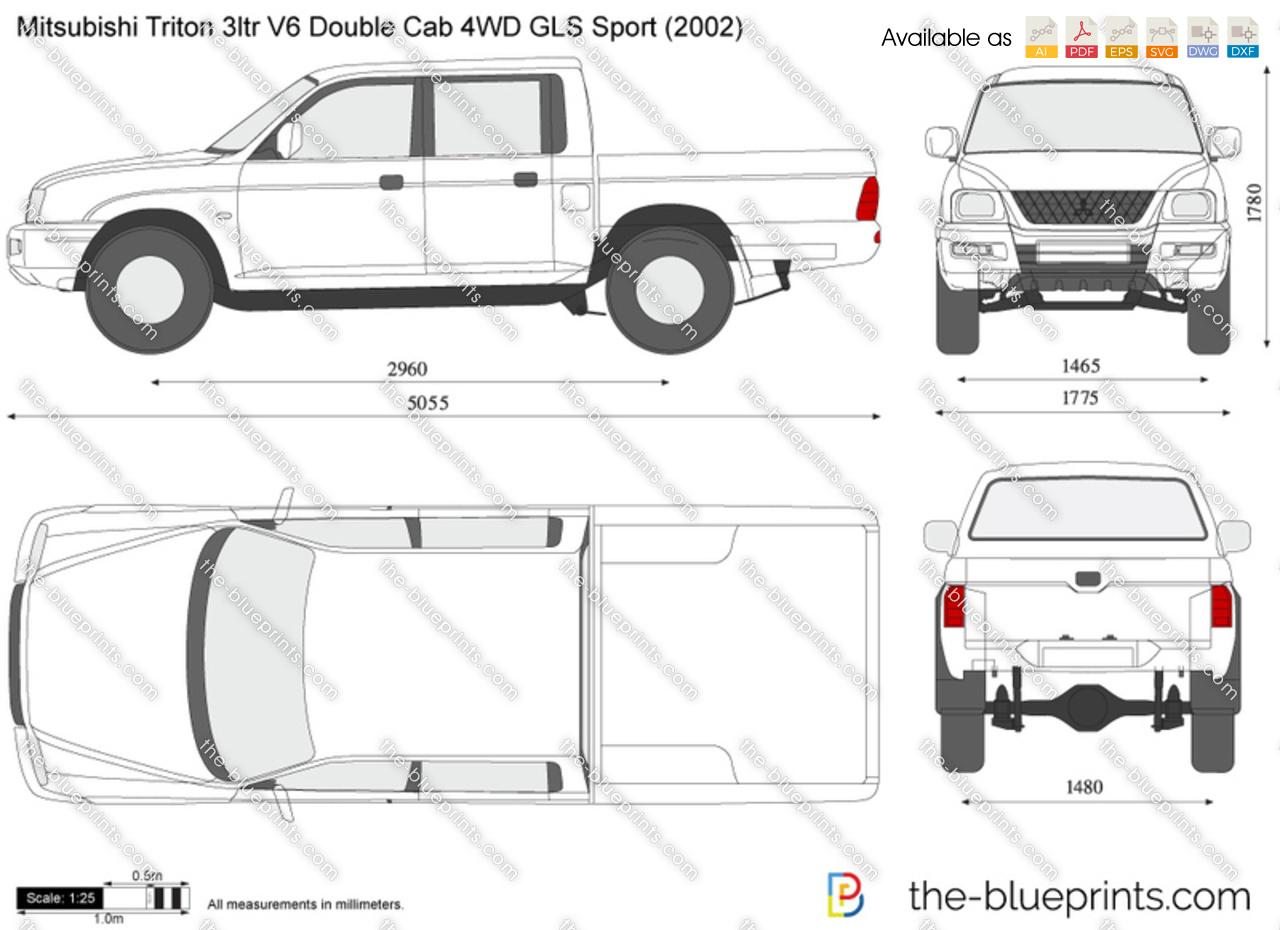 Mitsubishi Triton 3ltr V6 Double Cab 4wd Gls Sport Vector Drawing