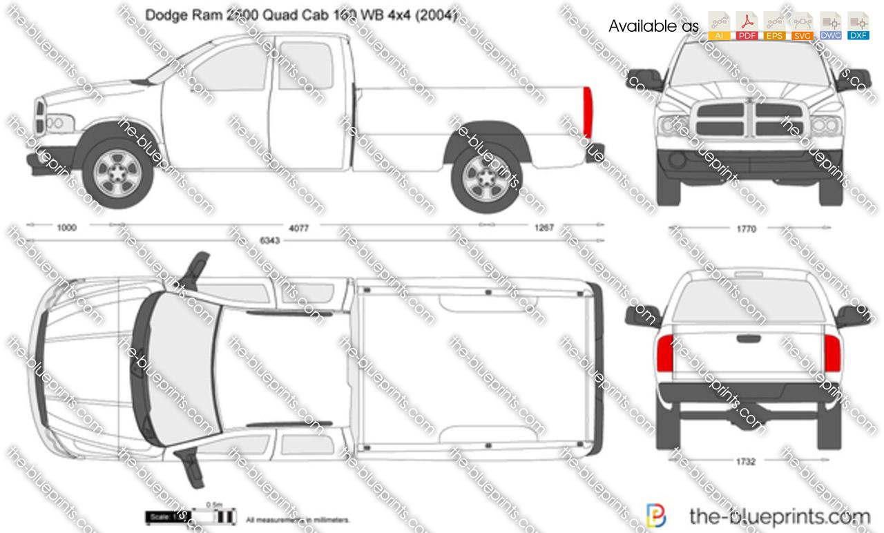 Dodge Ram Quad Cab 160 Wb 4x4 Vector Drawing