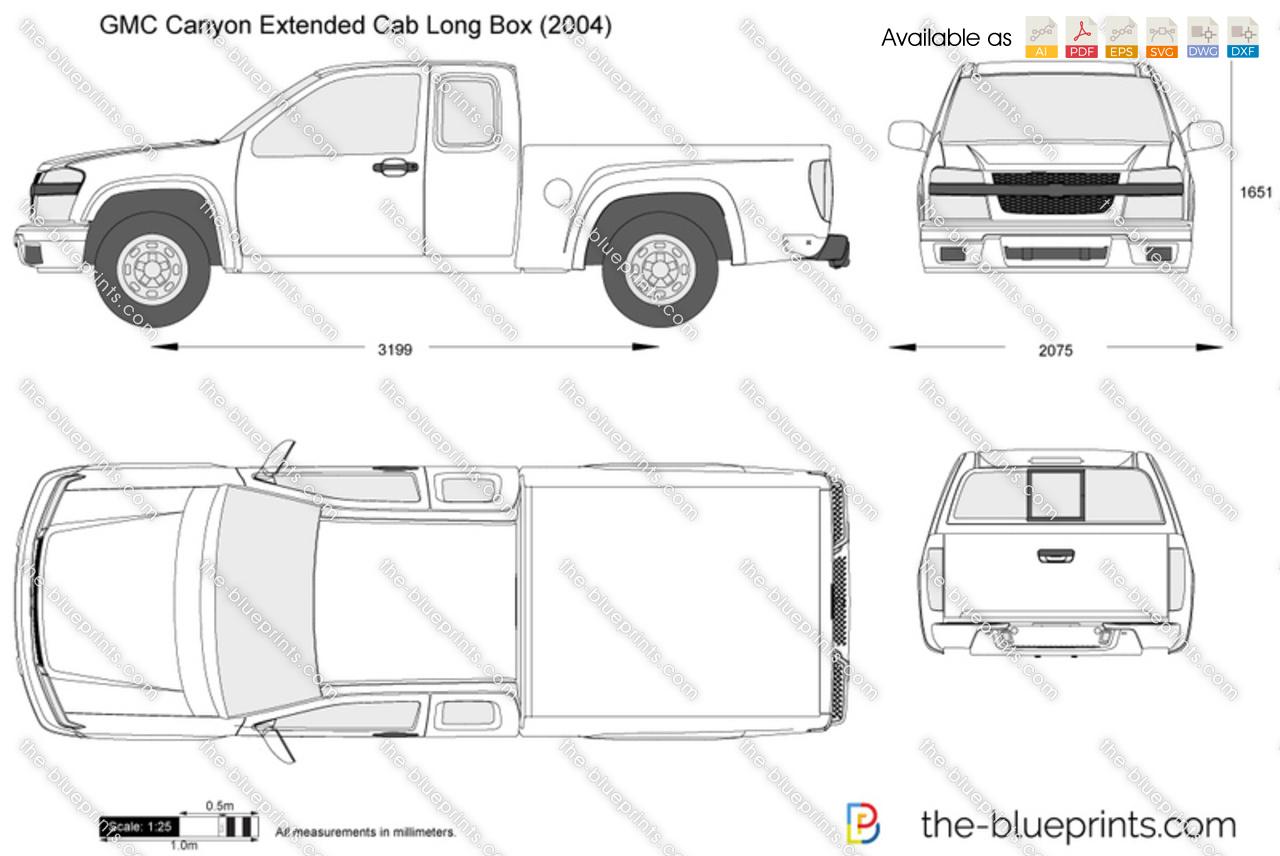 Gmc Canyon Extended Cab Long Box Vector Drawing
