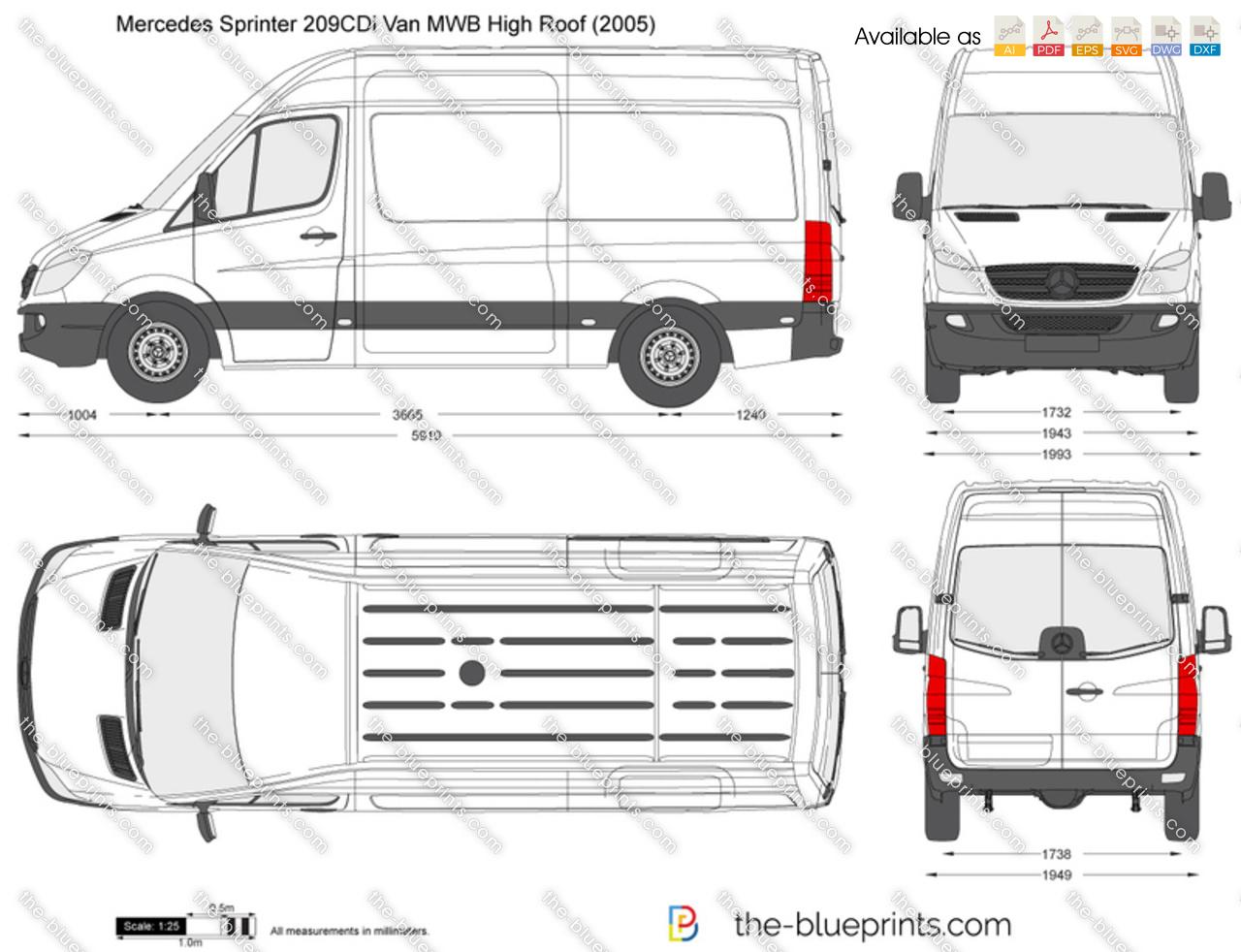 Mercedes Benz Sprinter 209cdi Van Mwb High Roof Vector Drawing