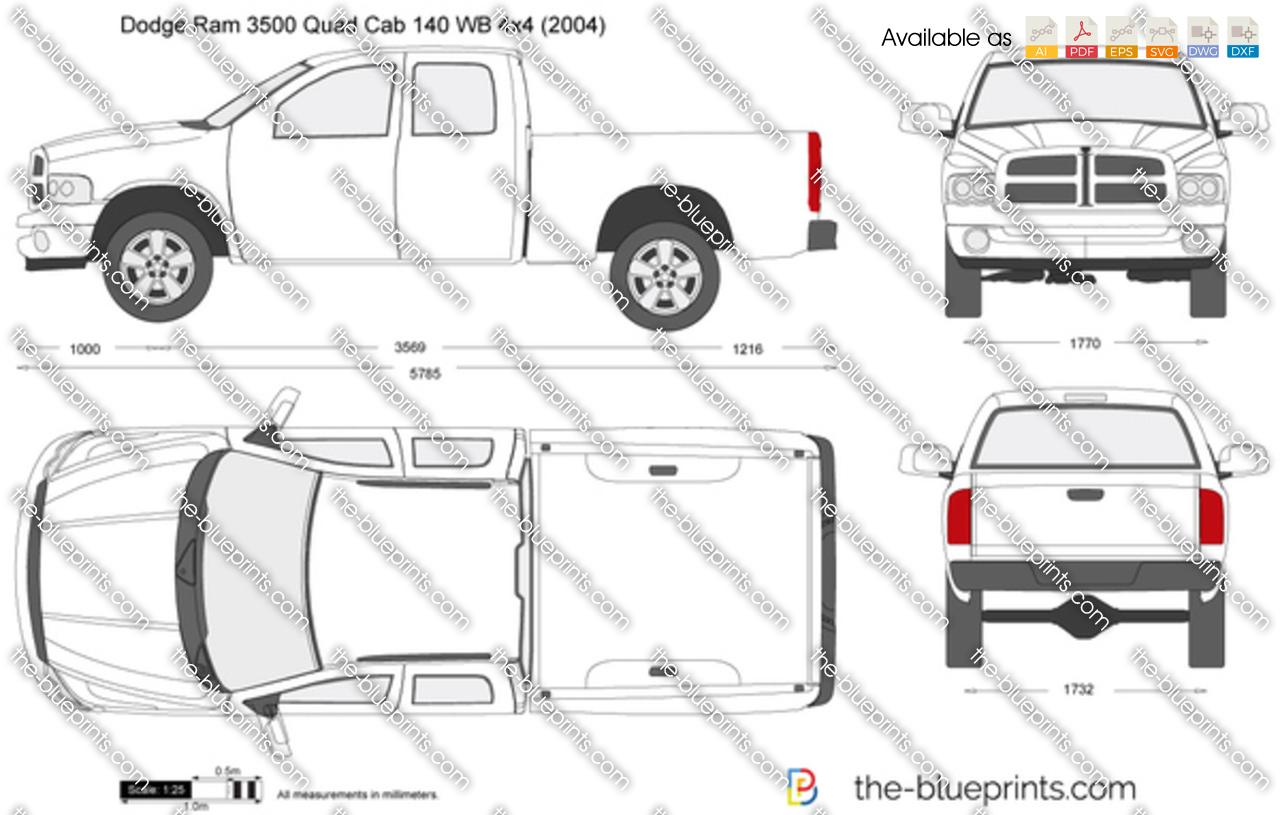 Dodge Ram Quad Cab 140 Wb 4x4 Vector Drawing
