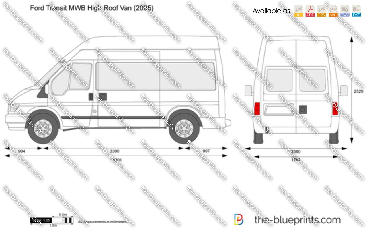 Ford Transit Mwb High Roof Van Vector Drawing