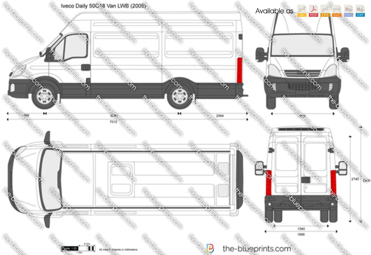 Iveco Daily 50c18 Van Lwb Vector Drawing
