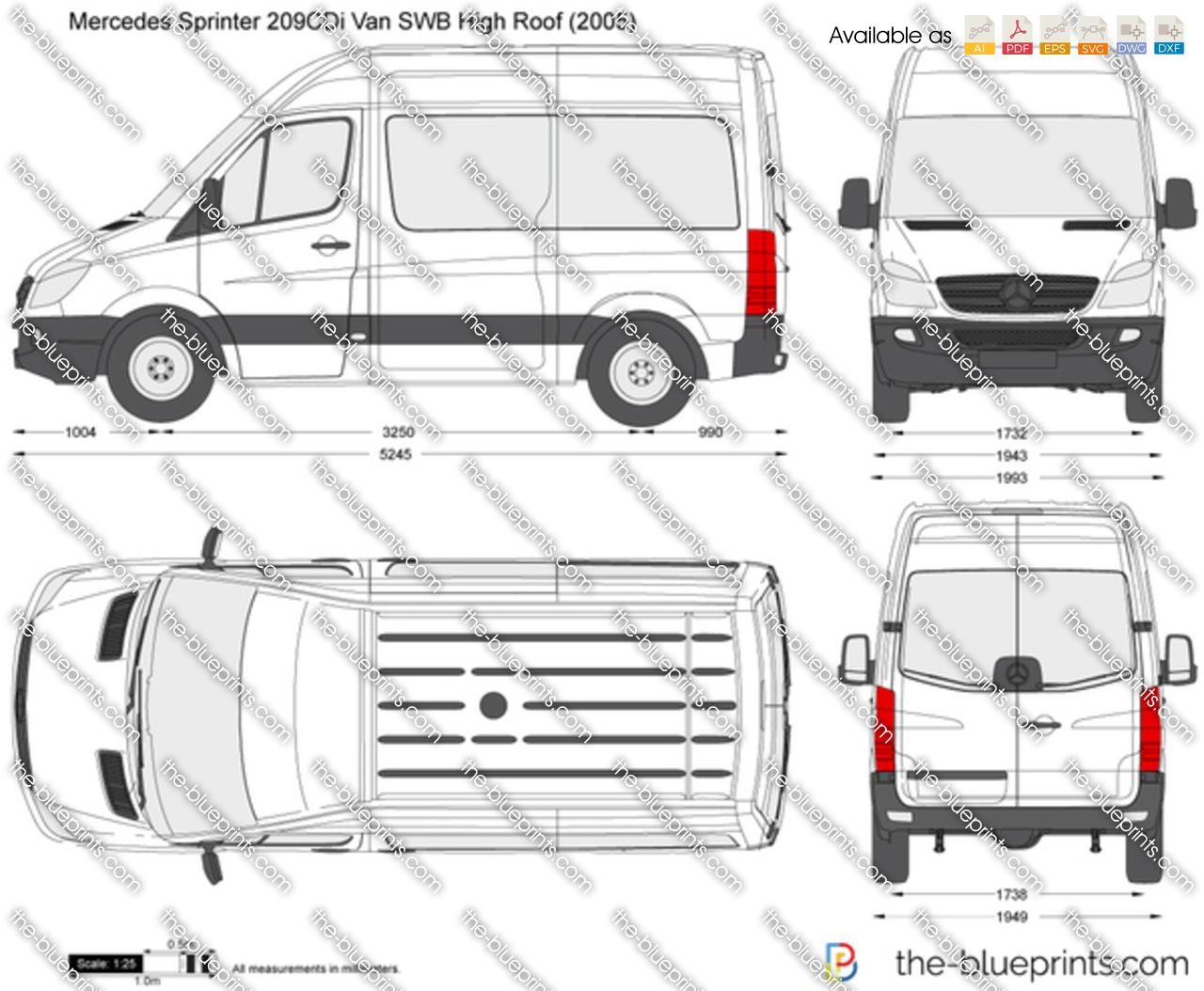 Mercedes Benz Sprinter 209cdi Van Swb High Roof Vector Drawing