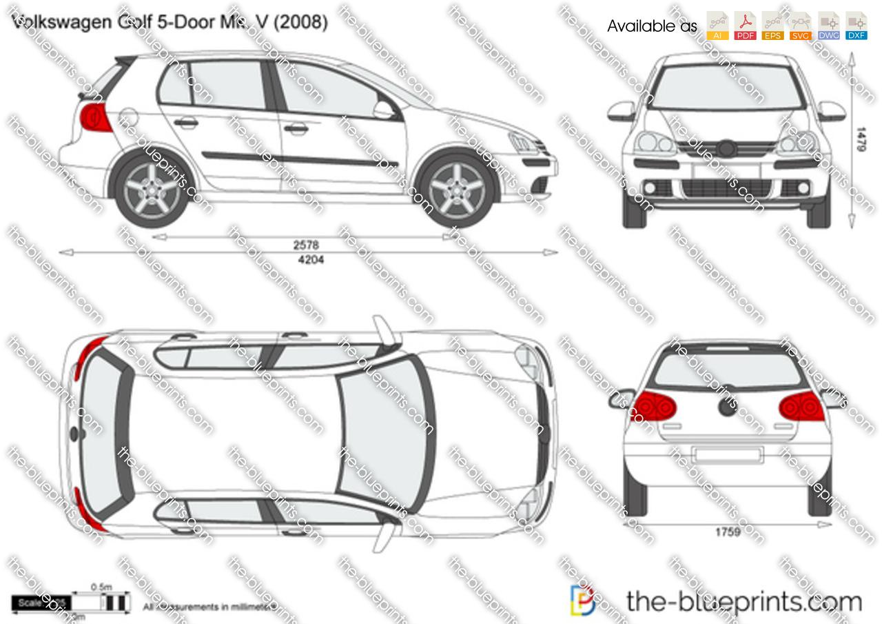 Volkswagen Golf 5 Door Mk V Vector Drawing