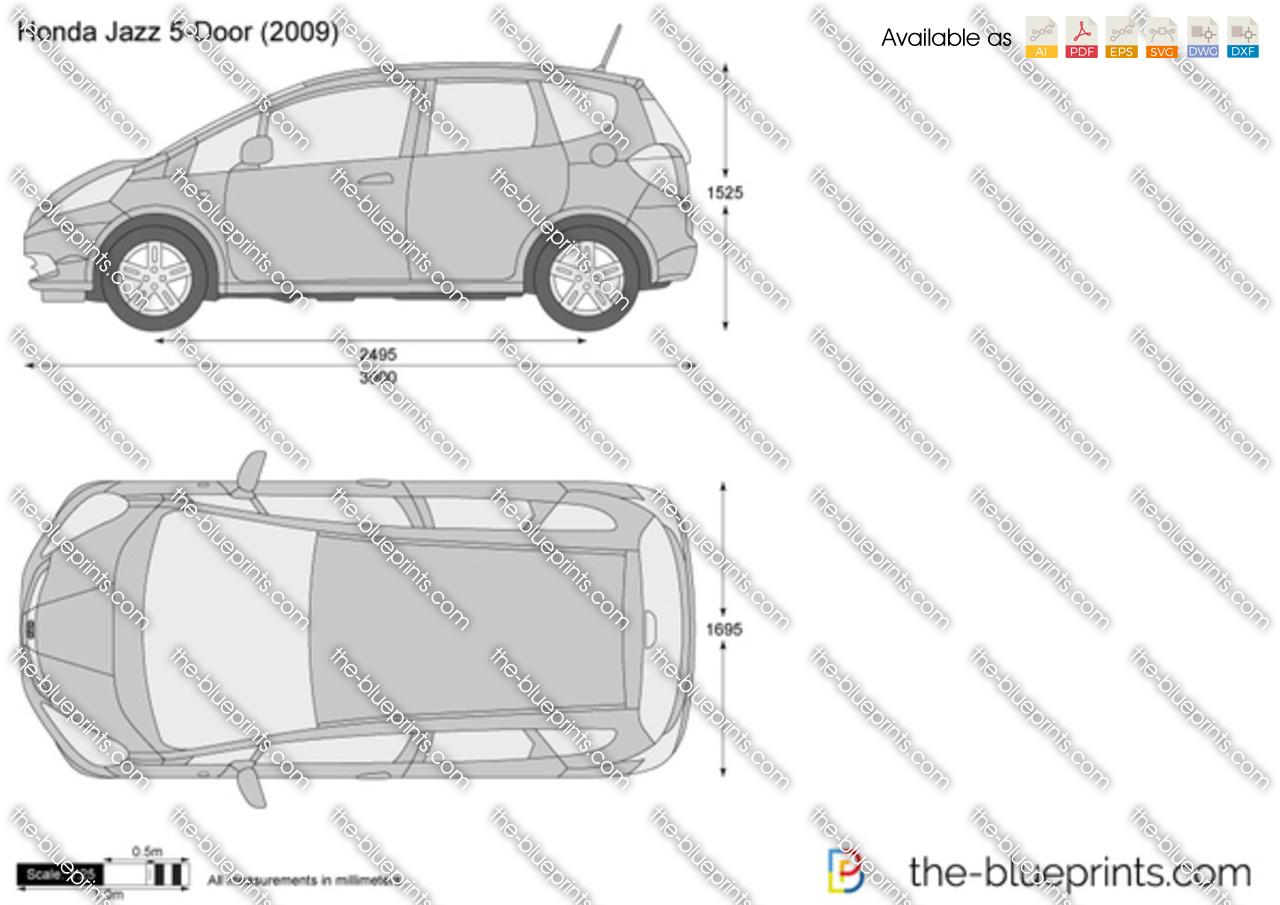 Honda Jazz 5 Door Vector Drawing