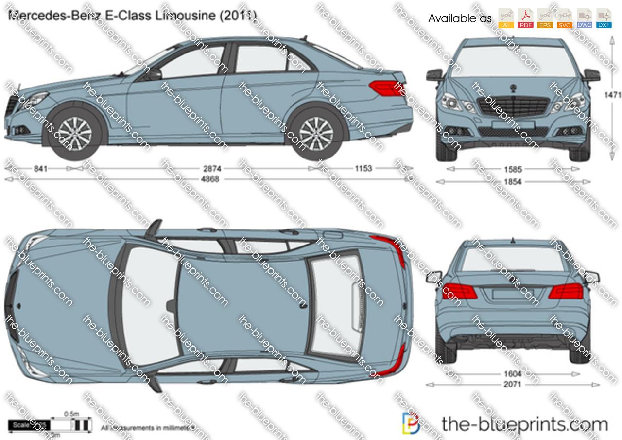 Mercedes Benz E Class Limousine W212 Vector Drawing