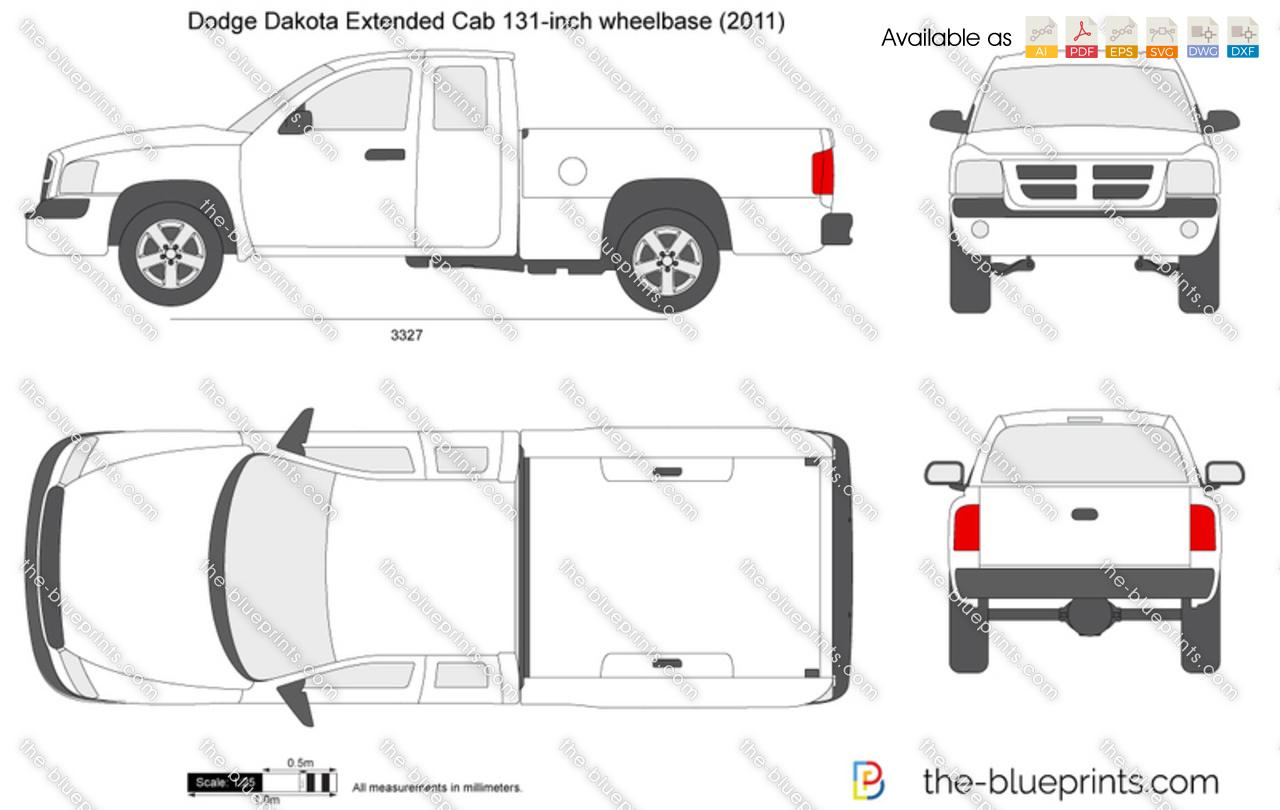 Dodge Dakota Extended Cab 131 Inch Wheelbase Vector Drawing