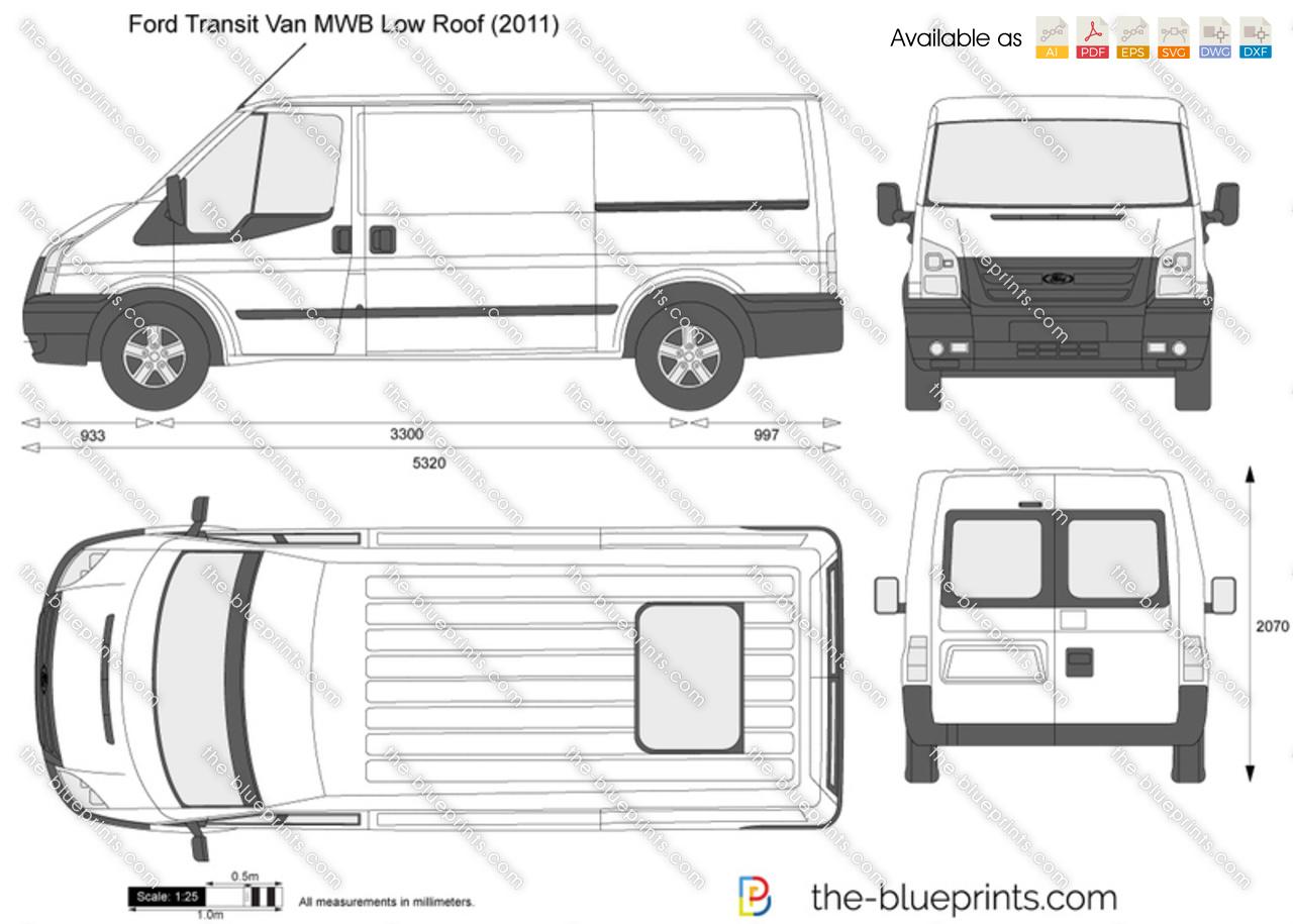 Ford Transit Van Mwb Low Roof Vector Drawing