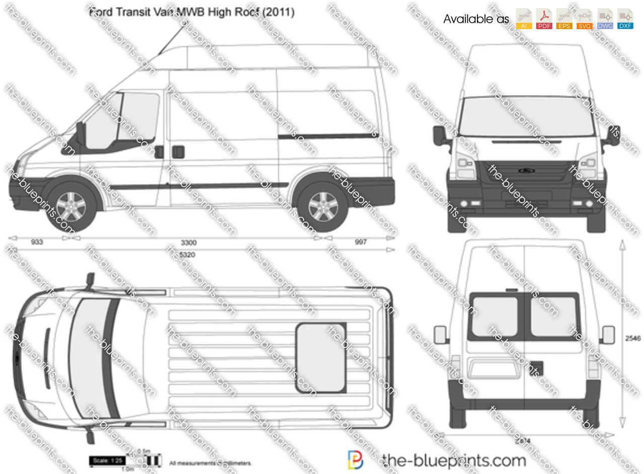 Ford Transit Van Mwb High Roof Vector Drawing