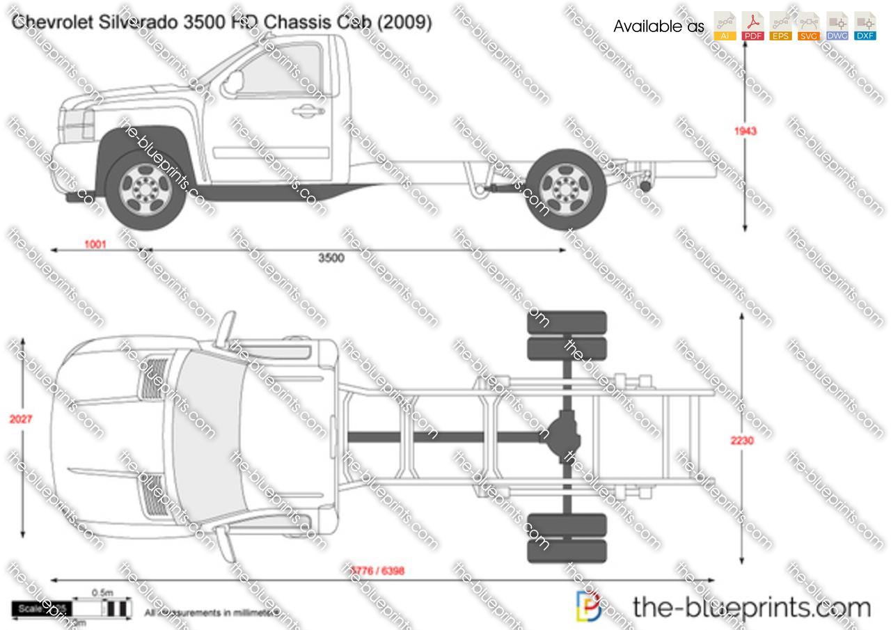 Chevrolet Silverado Hd Chassis Cab Vector Drawing