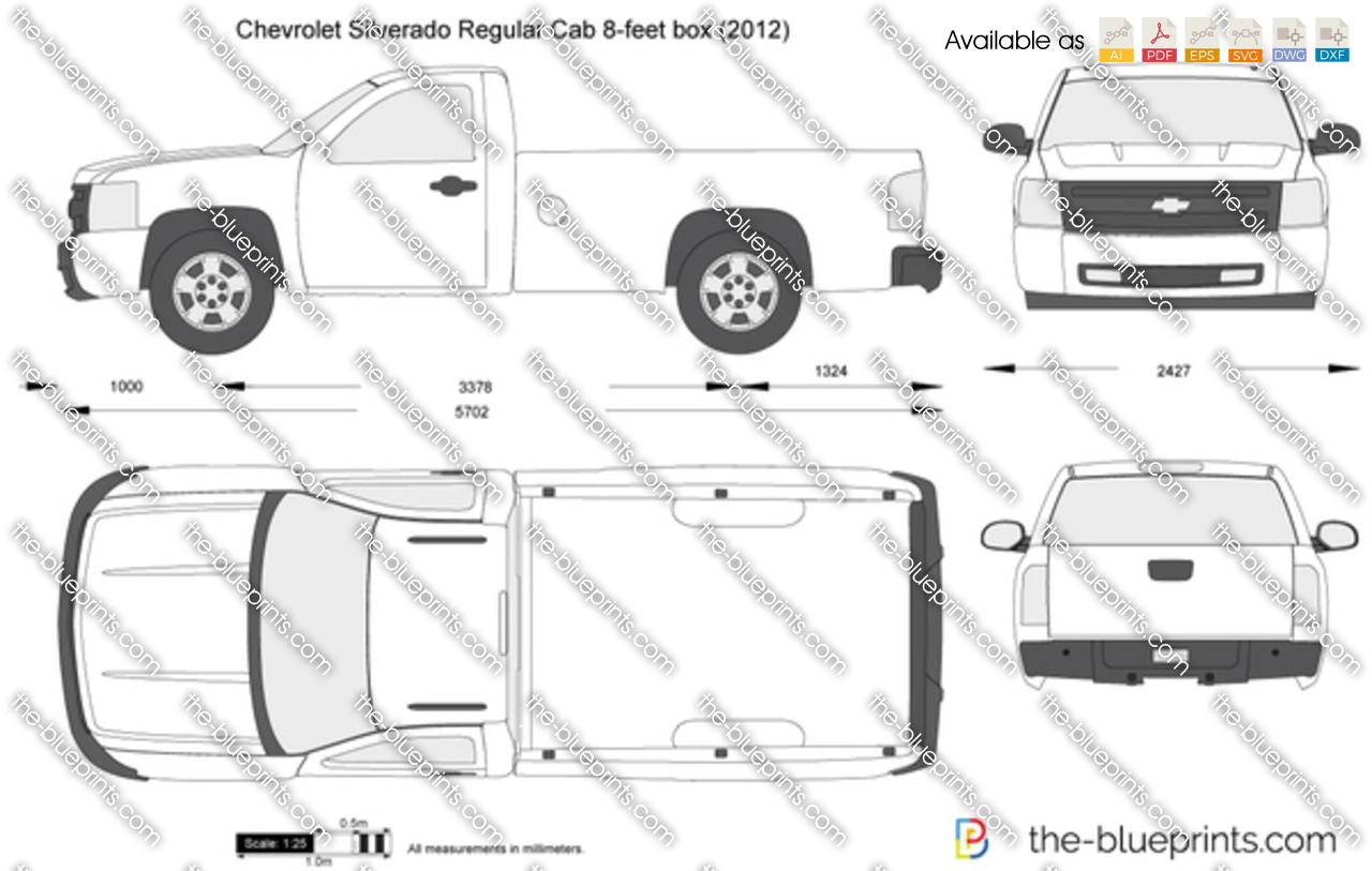 Chevrolet Silverado Regular Cab 8 Feet Box Vector Drawing