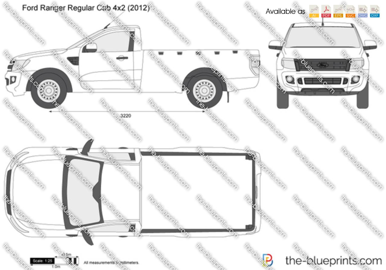 Ford Ranger Regular Cab 4x2 Vector Drawing
