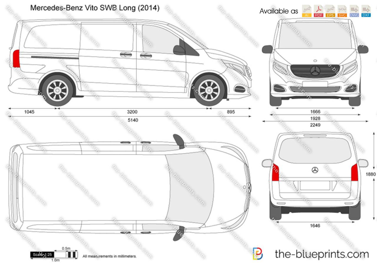 Mercedes Benz Vito Swb Long W447 Vector Drawing